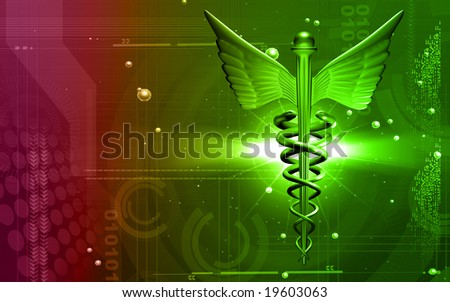 Digital illustration of a medical logo in green colour	 - stock photo