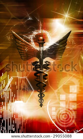 Digital illustration of a medical symbol in brown colour	 - stock photo