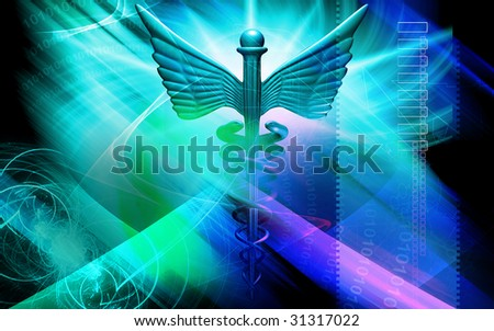 Digital illustration of a medical symbol in   colour - stock photo