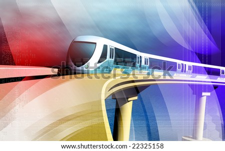 Digital illustration of a metro train - stock photo