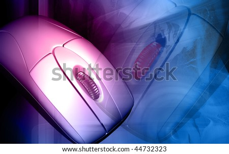Digital illustration of a mouse in   colour background - stock photo