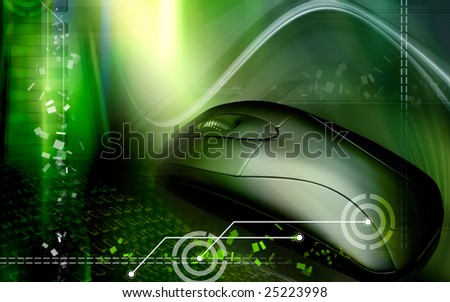 Digital illustration of a mouse in green colour - stock photo