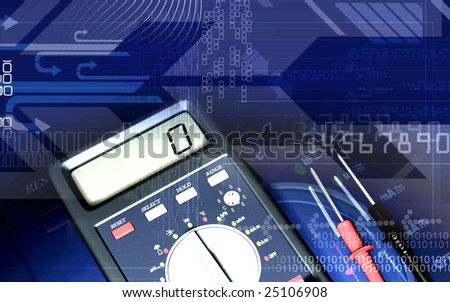 Digital illustration of  a multimeter in colour