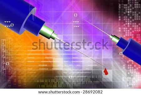 Digital illustration of a Needle and blood drops