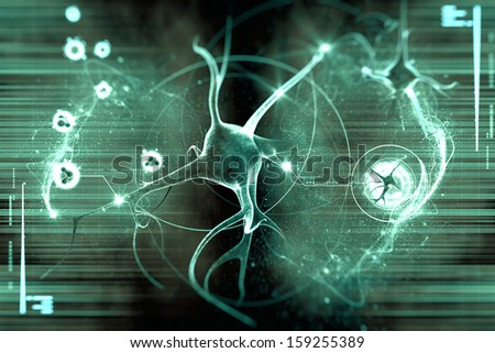 digital illustration of a neuron in colour background