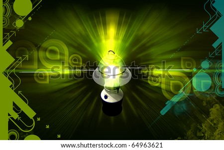Digital illustration of a Rechargeable floured lantern  in colour background