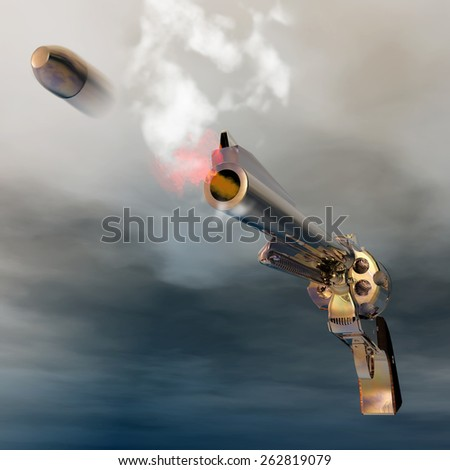 Digital Illustration of a Revolver - stock photo