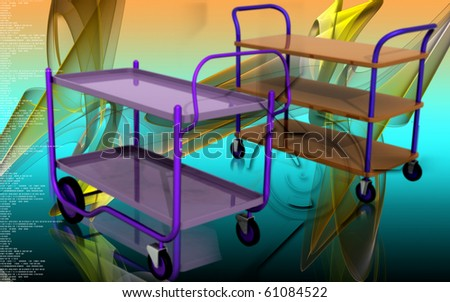 Digital illustration of a Service cart in colour background