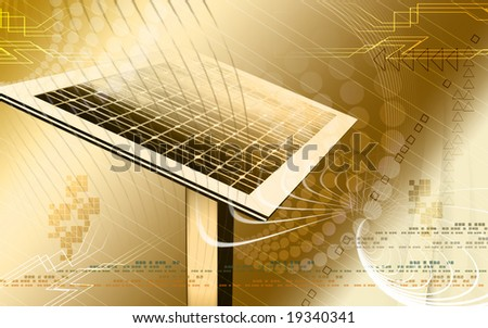 Digital illustration of a solar panel  - stock photo