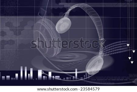Digital illustration of a sparking headphone - stock photo
