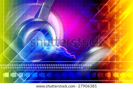 Digital illustration of a sparking headphone - stock photo