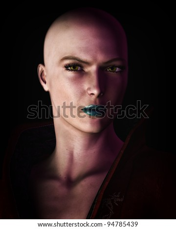 Digital illustration of a strong, futuristic sci-fi looking bald woman in heavy dark shadow. - stock photo