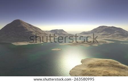 Digital Illustration of a surreal Landscape - stock photo