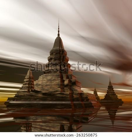Digital Illustration of a surreal Pagoda - stock photo