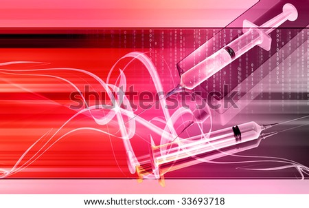 Digital illustration of a Syringe and box in colour  - stock photo