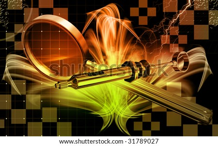 Digital illustration of a    syringe and magnifying glass - stock photo