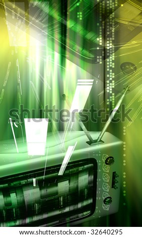 Digital illustration of a television monitor in light