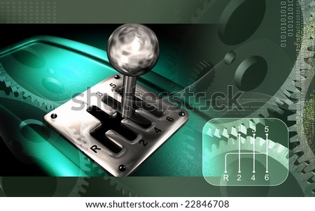 Digital illustration of a vehicle gear lever movement 	 - stock photo