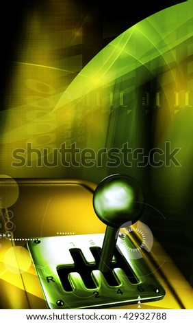 Digital illustration of a vehicle gear lever movement in colour background 	 - stock photo