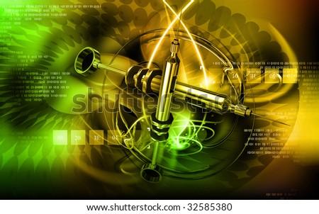 Digital illustration of a  Veterinary surgical syringe - stock photo