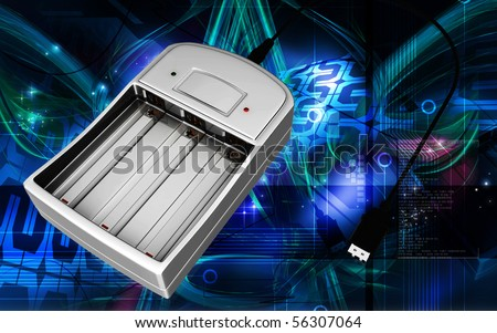 Digital illustration of AAA Charger in colour background
