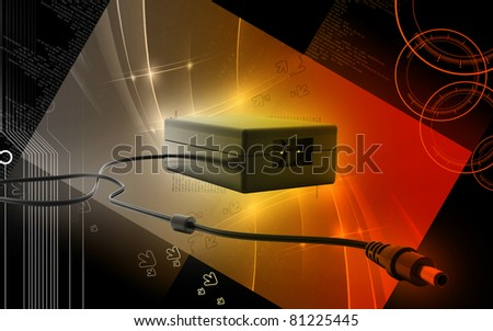 Digital illustration of adapter in colour  background - stock photo