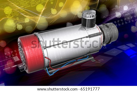 Digital illustration of air compressor in colour background