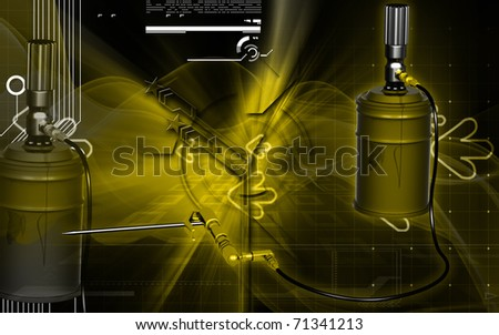 Digital illustration of air grease pump in colour background