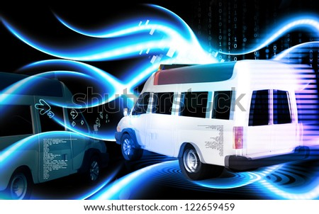 Digital illustration  of Ambulance in colour background - stock photo