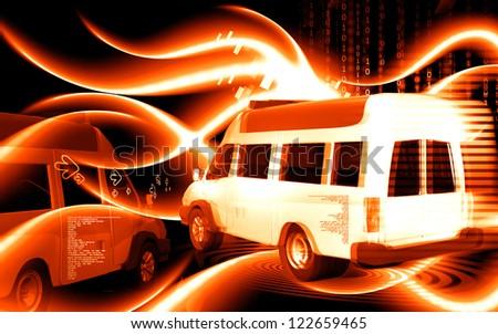 Digital illustration  of Ambulance in colour background - stock photo