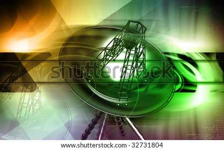 Digital illustration of an antenna in colour background