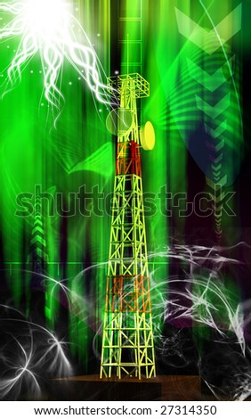Digital illustration of an antenna sending signals