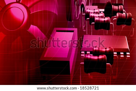 Digital illustration of an electric circuit board and computer fan  - stock photo