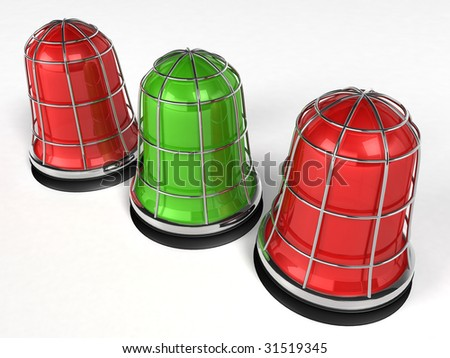digital illustration of an emergency alarm lamp (red, green) - stock photo