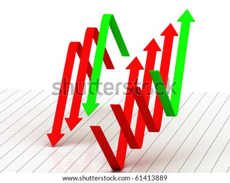 digital illustration of arrow showing earnings of profit - stock photo