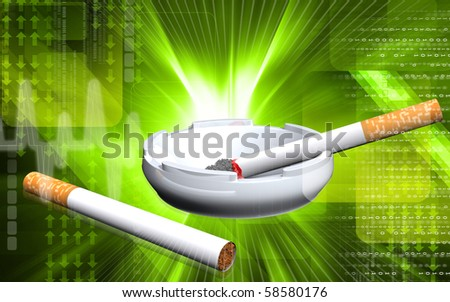 Digital illustration of  ashtray and cigarette in colour  background