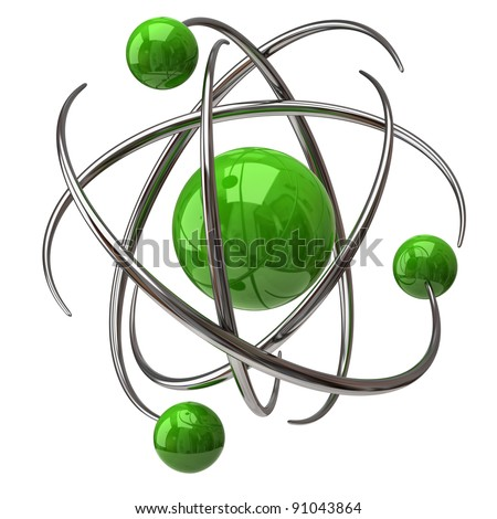 Digital illustration of atom - stock photo
