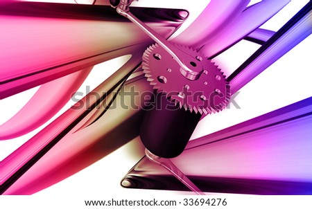 Digital illustration of  bicycle gear and pedal