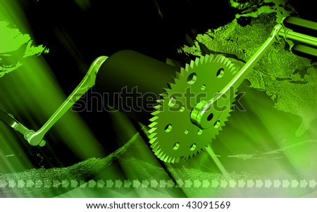 Digital illustration of  bicycle gear and pedal in colour background