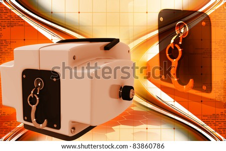 Digital illustration of Boat winch in colour background
