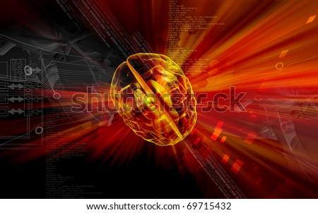 Digital illustration of  brain in colour  background  - stock photo