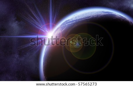 Digital Illustration of bright planet in space with stars in background - stock photo