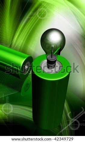 Digital illustration of bulb is ignited by cell