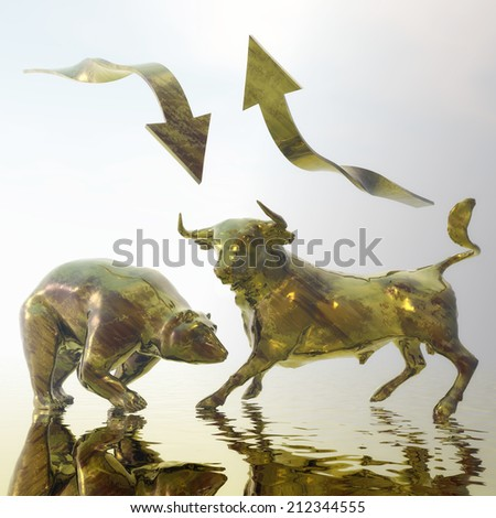 Digital Illustration of Bull and Bear - stock photo
