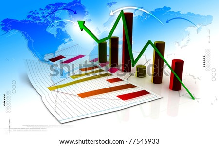 Digital illustration of Business graph in abstract design - stock photo