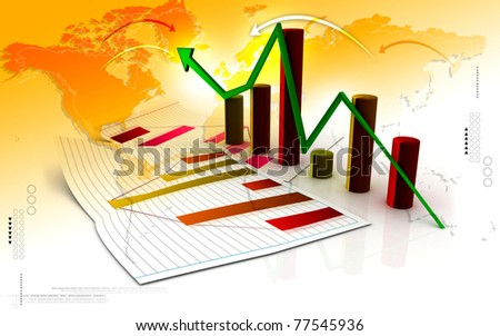 Digital illustration of Business graph in color background