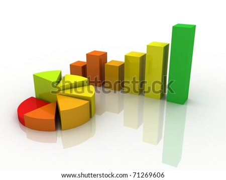Digital illustration of Business Graph in 3d - stock photo
