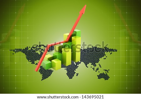Digital illustration of Business Graph with arrow in color background - stock photo