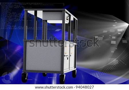 Digital illustration of cabinet in colour background