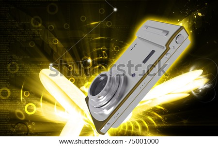 Digital illustration of camera in colour background - stock photo